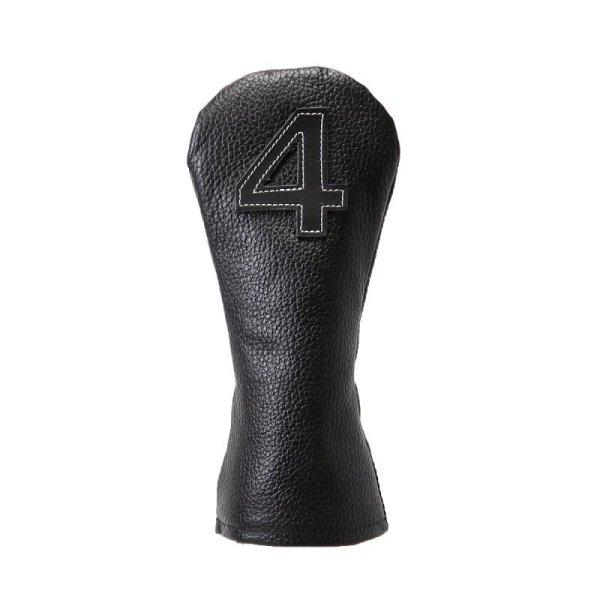 画像1: ヘッドカバー ゴルフ ユーティリティ レザー本革 ブラック (1)